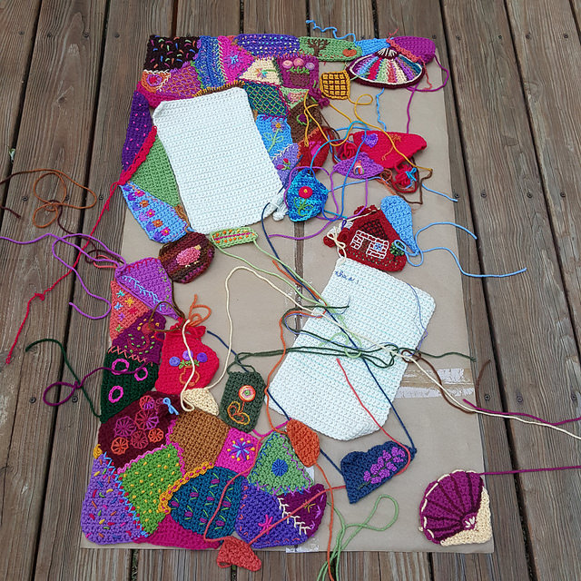 crochetbug, crochet command center, crazy quilt crochet, embroidery on crochet, narrative crochet, crochet panels, crochet rectangles, crochet squares, crochet blanket, crochet afghan, crochet throw, granny squares