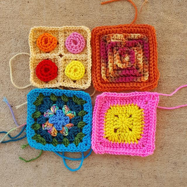crochetbug, crochet squares, crochet roses, crochet hearts, crochet granny squares, project amigo, textured crochet squares