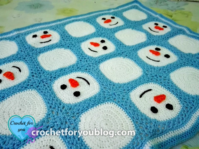 Crochet Snowman Granny Squares Blanket - free pattern