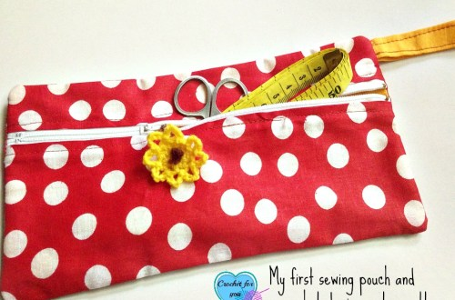 My first sewing pouch plus crocheted zipper tag pattern