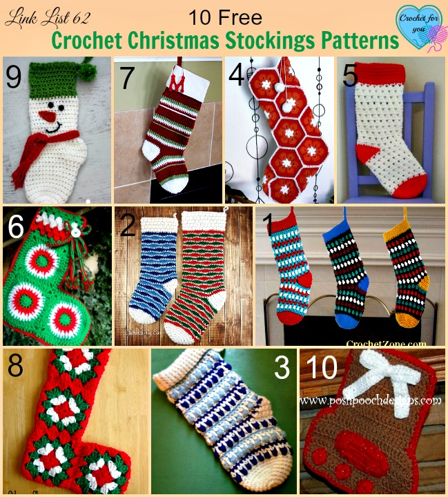10 free crochet christmas stockings patterns crochet for you