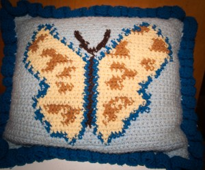 Butterfly Graph Crocheted Pillow