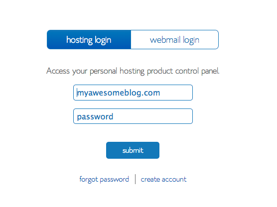 Bluehost login for Crochet blog