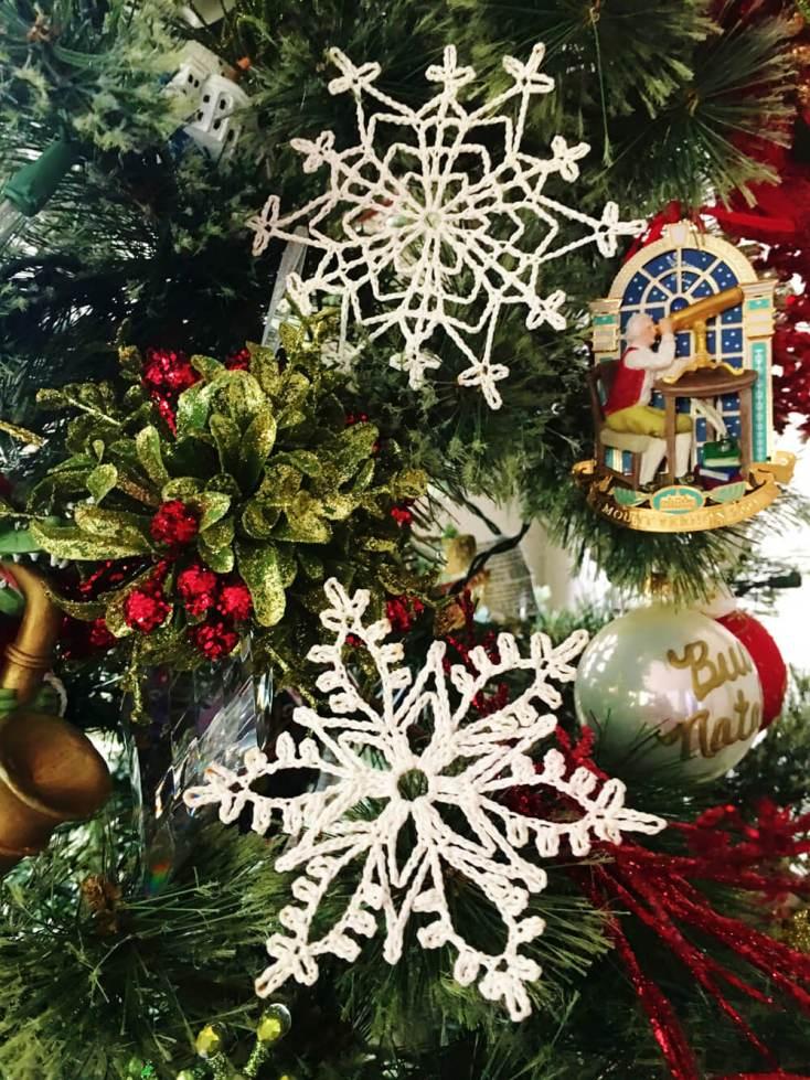 Crocheted Snowflakes on Christmas Tree