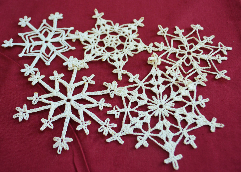 Crocheted Snowflakes Holiday Decor
