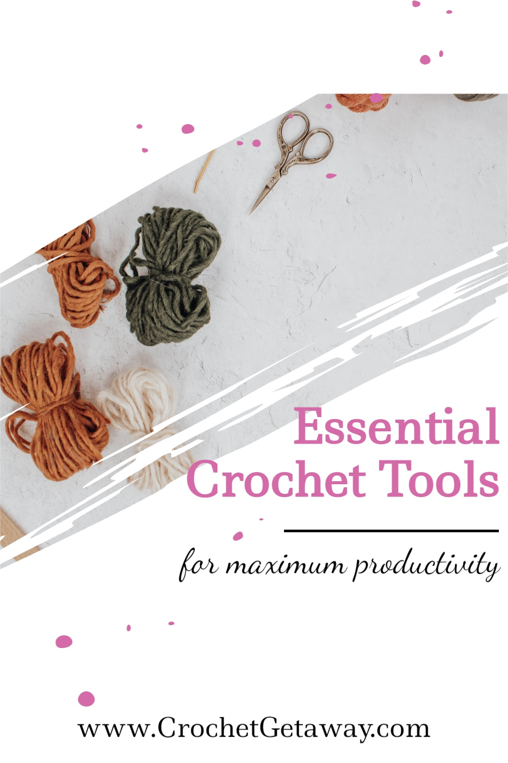 Image of yarn, scissors, and other tools