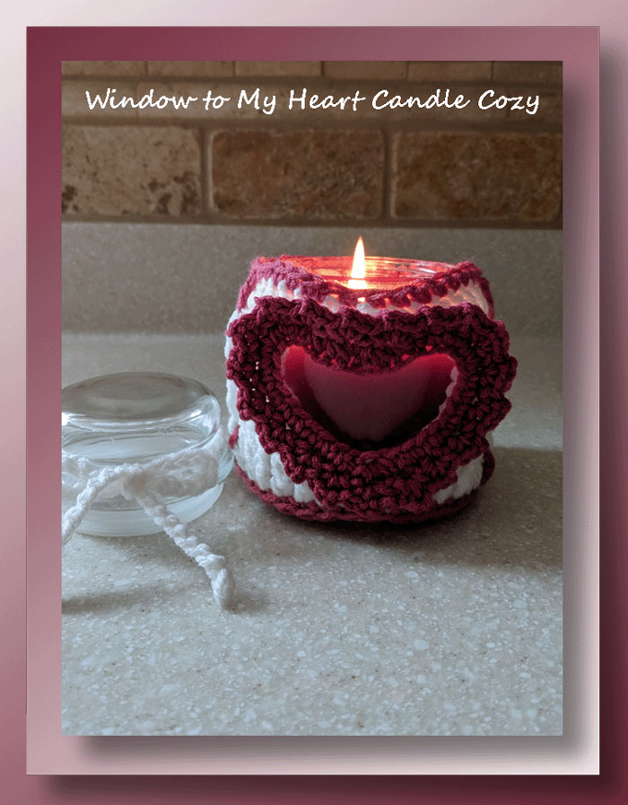 Window to my Heart Candle Cozy - Free crochet Valentine candle cozy pattern