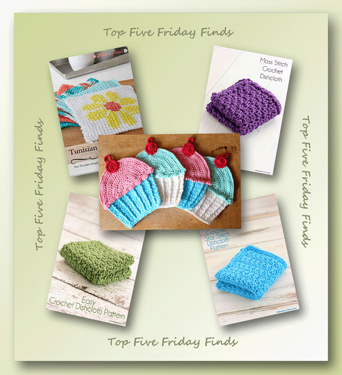 Top Five Friday Finds in free crochet dishcloth patterns