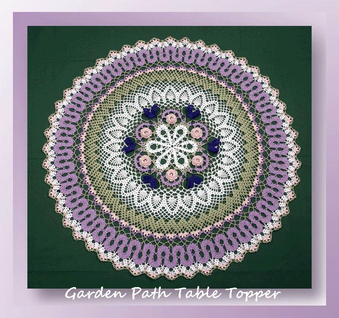 garden path table topper crochet table topper patterns. Black Bedroom Furniture Sets. Home Design Ideas
