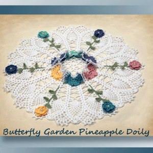 Butterfly Garden Pineapple Doily