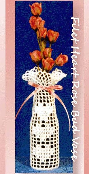 Filet Heart Valentine Rosebud Vase
