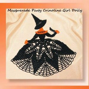 Masquerade Party Crinoline Girl Doily