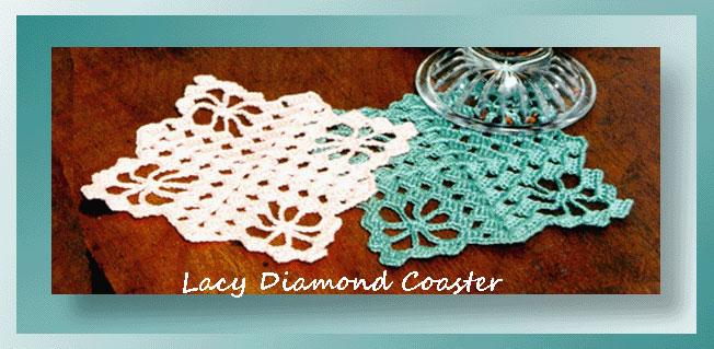 Lacy Diamond Coaster Crochet Coaster Patterns