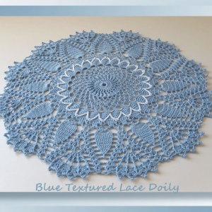 Blue Textured Lace Doily