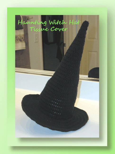 Haunting Witch Hat Tissue Cover Crochet Halloween Patterns