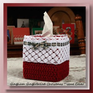 Gingham Gingerbread Christmas Tissue Cover