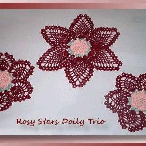 Rosy Stars Doily Trio