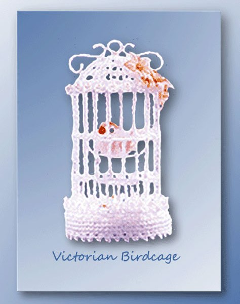 Crochet pattern for a miniature thread Victorian-style birdcage