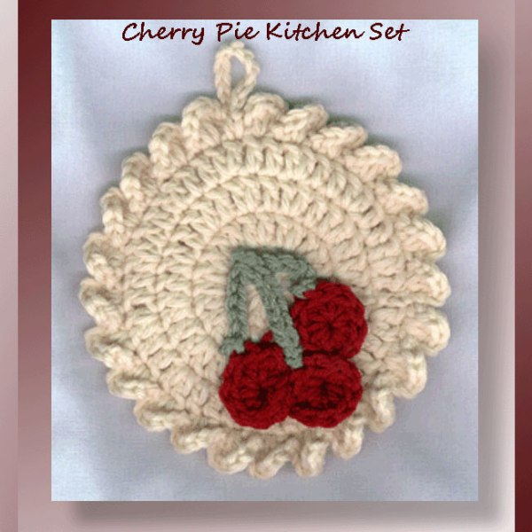 Cherry Pie Kitchen Set - Crochet pattern set for a cherry themed kitchen sachet and matching towel topper - CrochetMemories.com