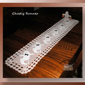 Ghostly Runner - Crochet pattern for a filet runner with ghosts