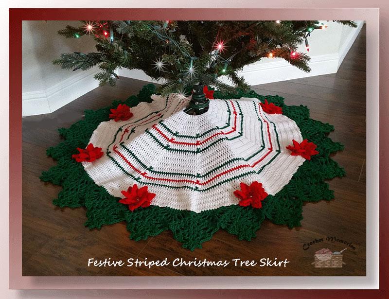 Festive Striped Christmas Tree Skirt - Crochet Christmas Tree Skirt Pattern
