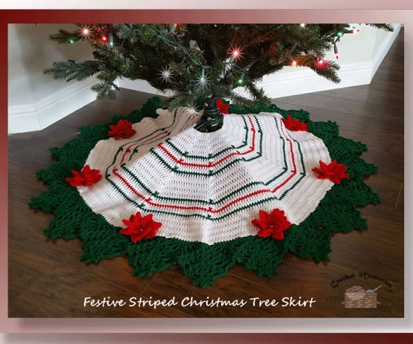 Festive Striped Christmas Tree Skirt  <br /><br /><font color=