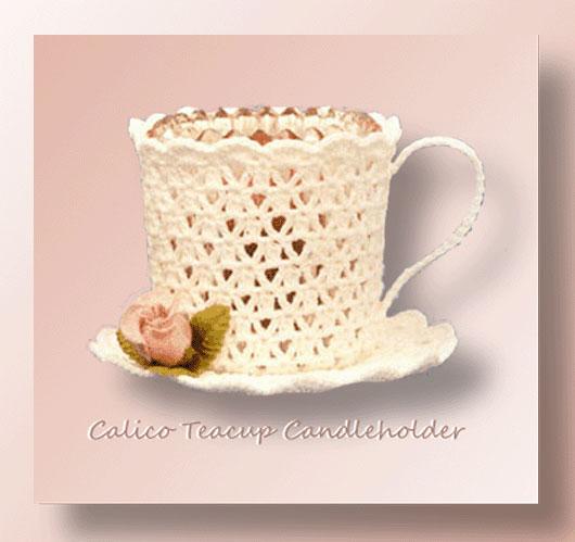 Calico Teacup Candleholder <br /><br /><font color=