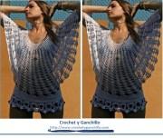 Blusa tejida a crochet de verano. Linda blusa manga murciélago