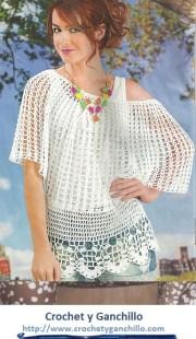 Blusas blancas tejidas a gancho. Blusa blanca en crochet con esquema