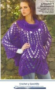 Poncho a crochet patrones. Poncho original, largo, calado, con cuello