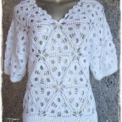Blusa Crochet motivo triangular
