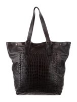 Black Leather Bottega Veneta Tote Crocodile Bag