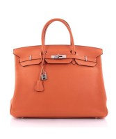 Birkin bag 40 Orange Clemence Pre-Owned by Hermès