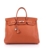 Birkin bag 40 Orange Taurillon Clemence By Hermès
