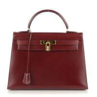 Kelly Bag 32 Hermes Box Sellier Rouge H