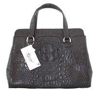 Authentic River Crocodile Skin Bag Tote Black Handbag