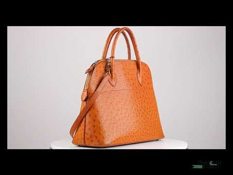 Authentic Hermes Vintage 1992 Tan Ostrich Bolide 35 Bag with Strap