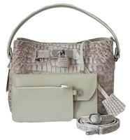 Crocodile Skin Womens Hornback Shoulder Strap Handbag
