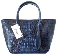 Authentic River Crocodile Skin Leather Handbag Bag Tote
