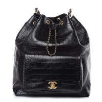 CHANEL Crocodile Embossed Bag Calfskin Large Backpack Black