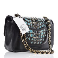 CHANEL Lambskin Crocodile Print Bag Black Turquoise