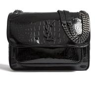 Saint Laurent Nikki Crocodile Shoulder Bag Embossed Black Leather