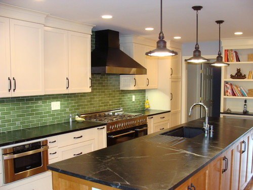 Black Soapstone Counters With Colorful Subway Tile Backsplash - Colorful subway tiles for a backsplash
