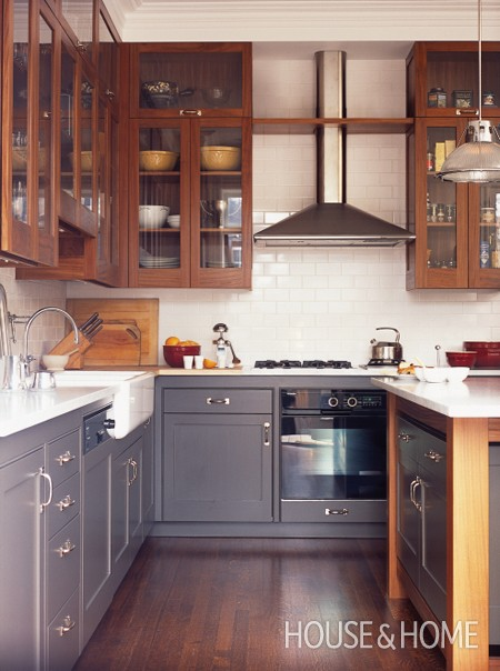 Dark Blue Kitchen Cabinets Butcher Blocks