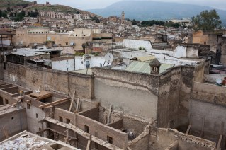 Looking from a building on top of the famous fabric painting pots. Unfortunately when we visited Fez, they were closed for renovation works.