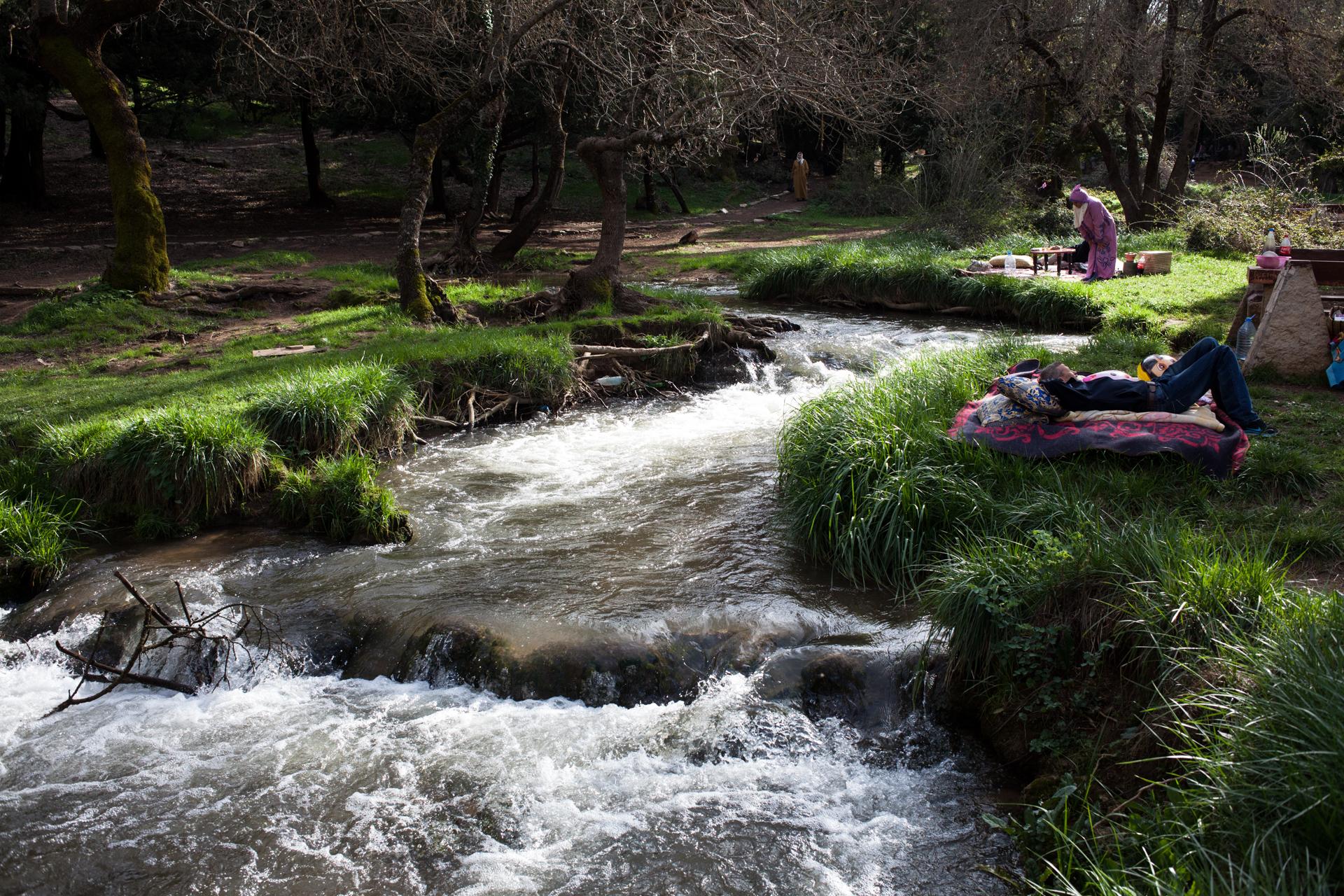 Relaxing near the waterfall