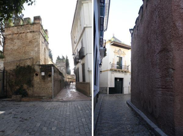 Muralla de la ciudad (izq.) y muralla de la judería (dcha.)