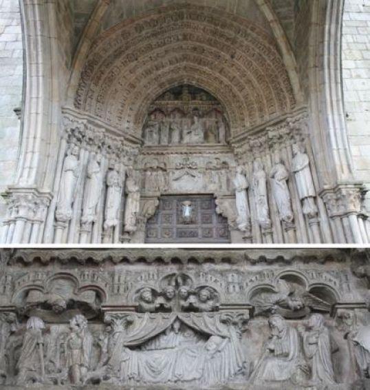 Arriba: Portada de los pies. Abajo: Detalle del relieve del dintel.