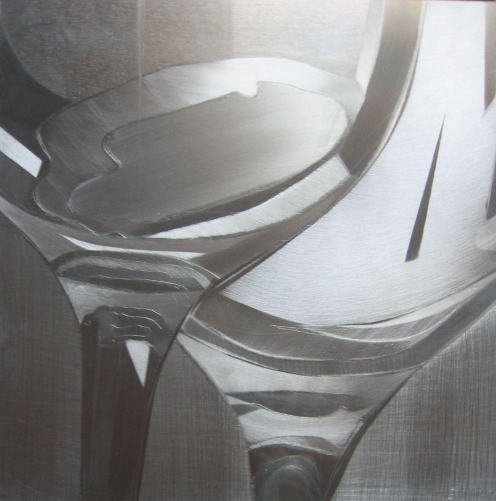 Copas. Técnica mixta sobre aluminio 23 x 23 cm.