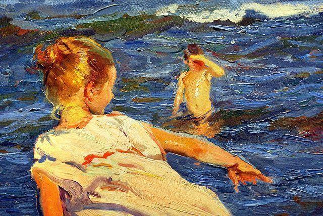 Detalle Corriendo por la playa 1908. Óleo sobre lienzo. 90x166,5cm. Museo de Bellas Artes de Asturias, Oviedo. Colección Pedro Masaveu.